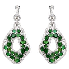 Pendant Earrings with Diamonds and Green Tourmalines, in 18 Kt White Gold