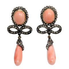 Pendant Earrings with Pink Coral