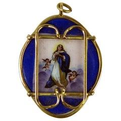 Pendant Gold 585 Porcelain Madonna Painted Austrian-Hungarian Monarchy