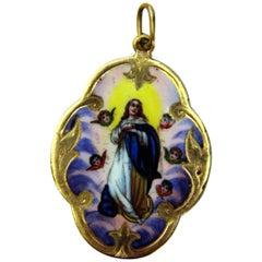 Pendant Gold 585 Porcelain Madonna Painted Austrian-Hungarian Monarchy c.1900