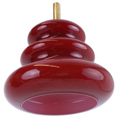 Pendant Hanging Lamp by Koch & Lowy for Peill & Putzler Red Glass Art Deco Style