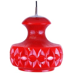 Pendant Hanging Lamp by Koch & Lowy for Peill & Putzler Red Glass of the 1970s