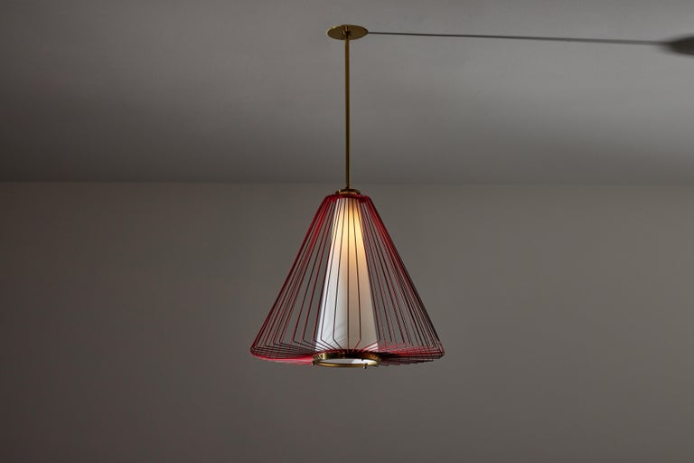 Pendant in the style of Arredoluce. Made in Italy, circa 1950's. Enameled metal armature, brushed satin glass diffuser. Custom brass backplate. Rewired for U.S. standards. We recommend one E27 75w maximum bulb. Bulbs provided as a one time courtesy.