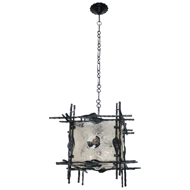 Pendant Lamp Brutalist 1960s Artglass Esperia Angelo Brotto