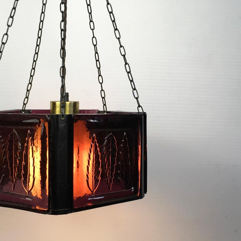 Pendant Lamp by Erik Höglund with Purple Glass for Boda Glasburk, Sweden, 1960s For Sale 2
