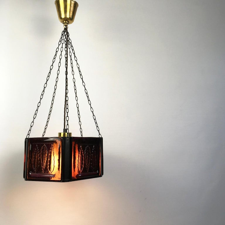 Pendant Lamp by Erik Höglund with Purple Glass for Boda Glasburk, Sweden, 1960s For Sale 4
