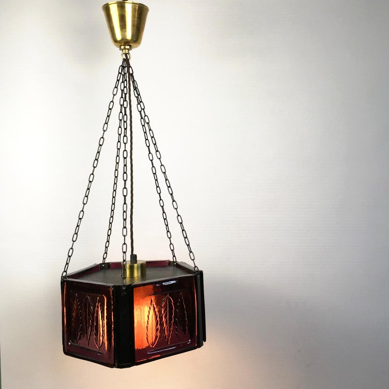 Pendant Lamp by Erik Höglund with Purple Glass for Boda Glasburk, Sweden, 1960s For Sale 5