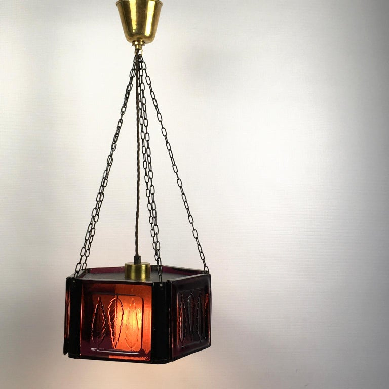 Swedish Pendant Lamp by Erik Höglund with Purple Glass for Boda Glasburk, Sweden, 1960s For Sale