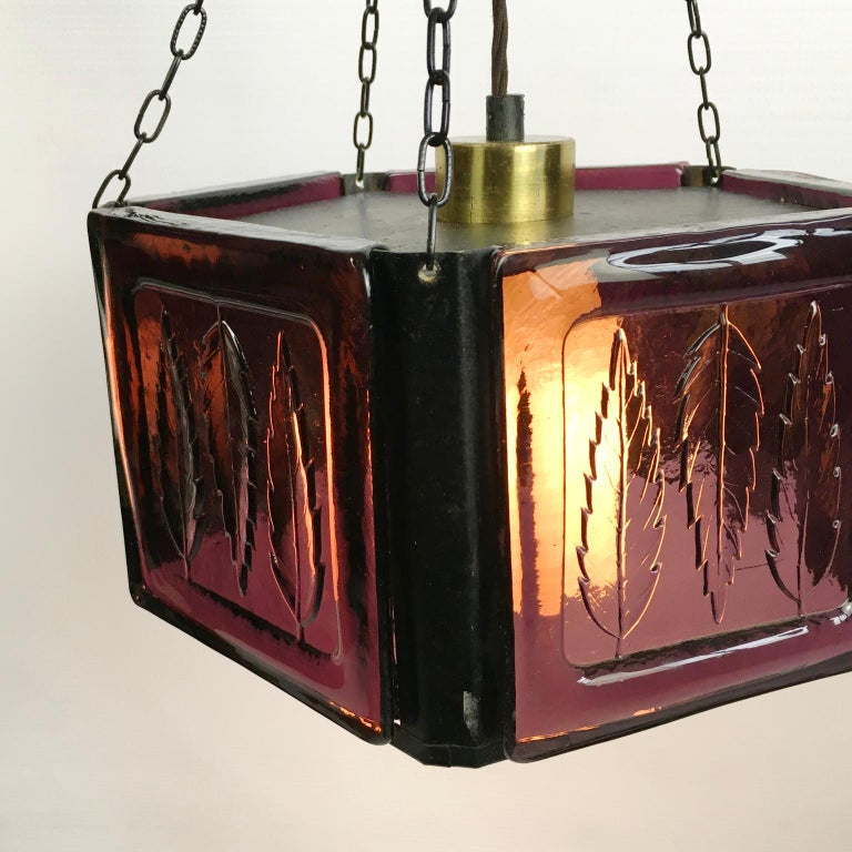 Hand-Crafted Pendant Lamp by Erik Höglund with Purple Glass for Boda Glasburk, Sweden, 1960s For Sale