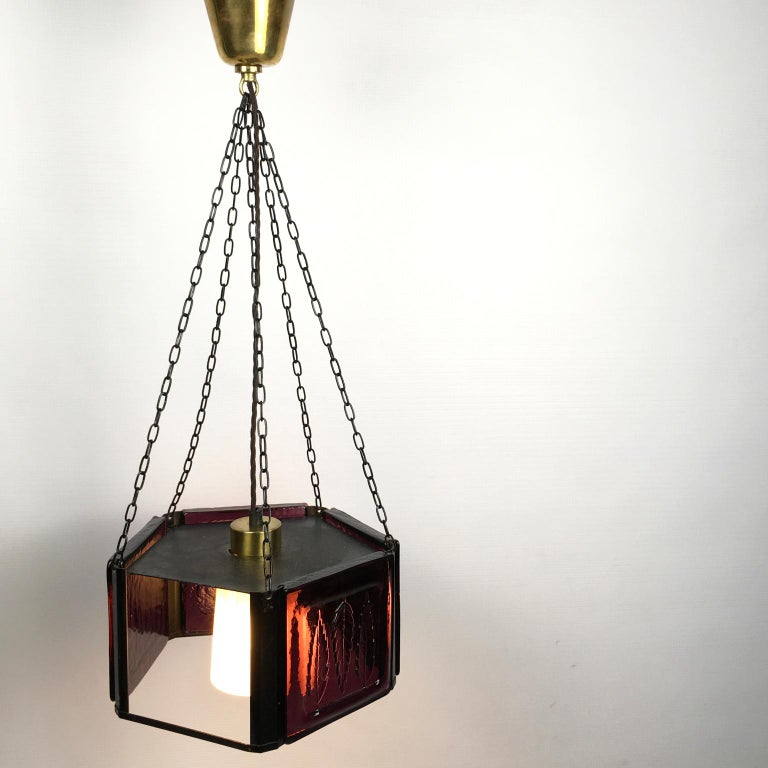 Pendant Lamp by Erik Höglund with Purple Glass for Boda Glasburk, Sweden, 1960s In Good Condition For Sale In London, GB