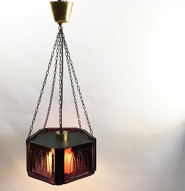 20th Century Pendant Lamp by Erik Höglund with Purple Glass for Boda Glasburk, Sweden, 1960s For Sale