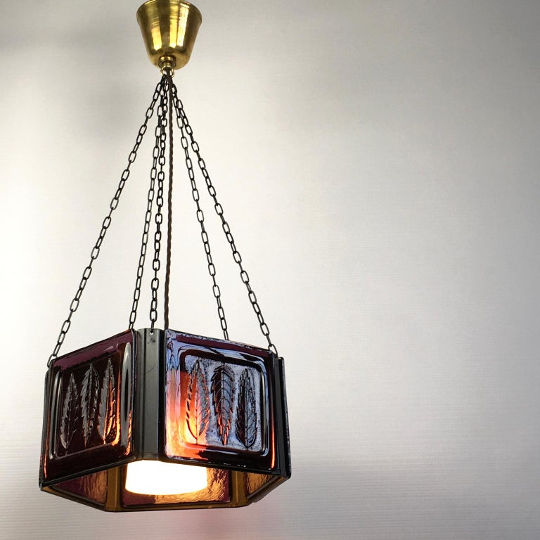 Metal Pendant Lamp by Erik Höglund with Purple Glass for Boda Glasburk, Sweden, 1960s For Sale