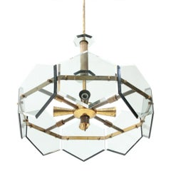 Pendant Lamp in Brass and Glass by Gino Paroldo, 1960s