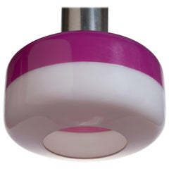 Pendant Lamp in Chromed Metal and Magenta Shade by Stilnovo, 1960
