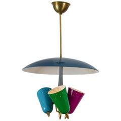 Pendant Lamp in Multi-Color Metal, Italy, 1950s