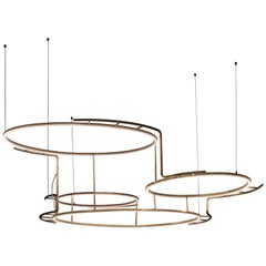 Pendant Lamp in Natural Brass and Led Incorporated, French Contemporary Lighting