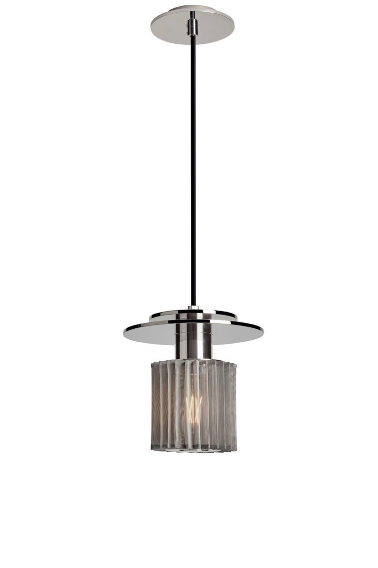 Industrial Pendant Lamp in Steel and Glass with Mesh Part, French Contemporary Lighting For Sale