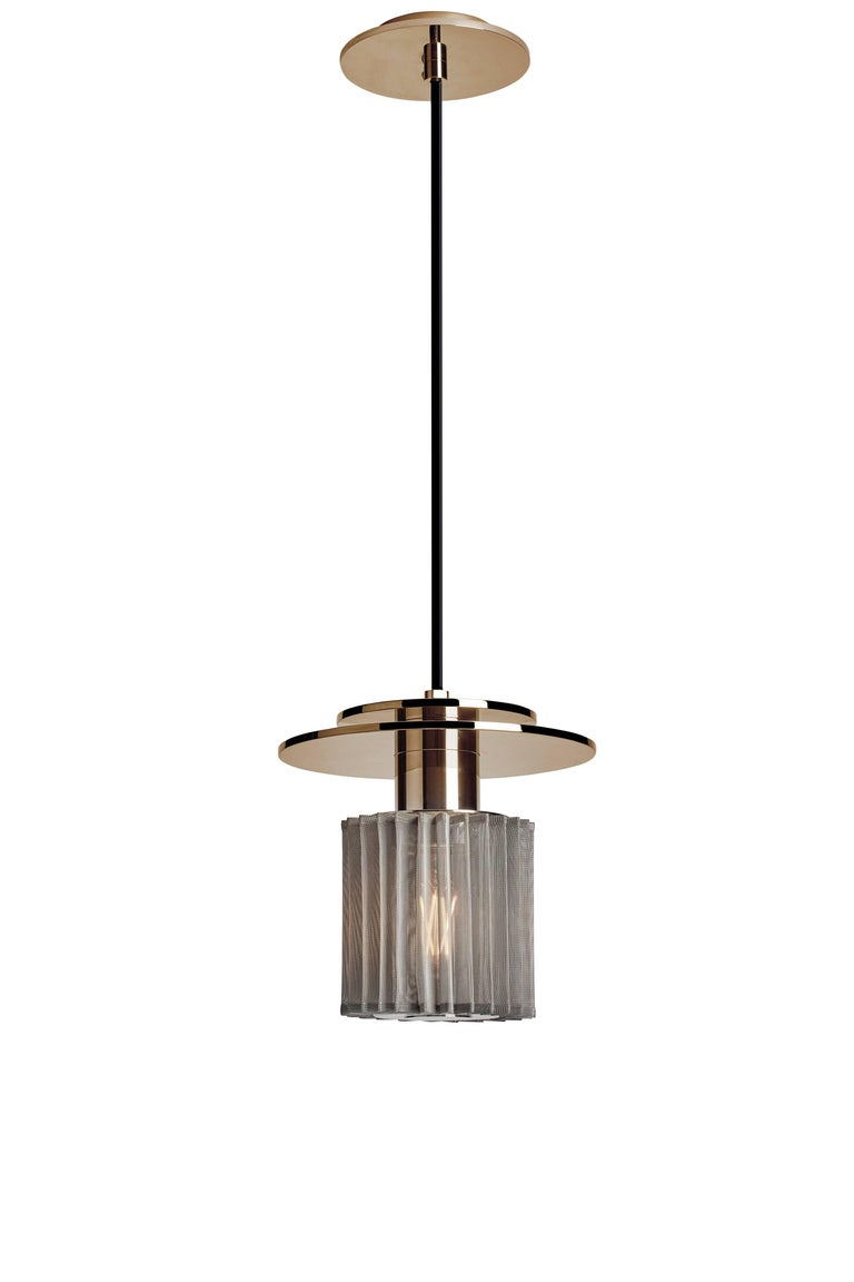 Pendant Lamp in Steel and Glass with Mesh Part, French Contemporary Lighting In New Condition For Sale In Paris, FR