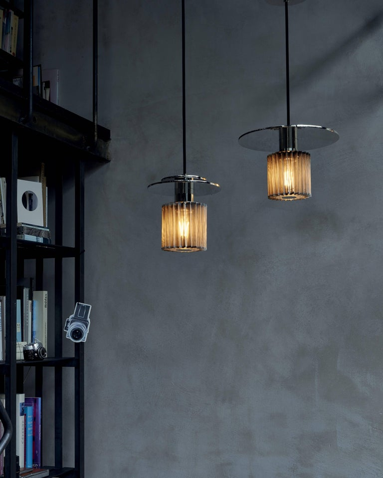 Pendant Lamp In Steel And Gl With Mesh Part French Contemporary Lighting