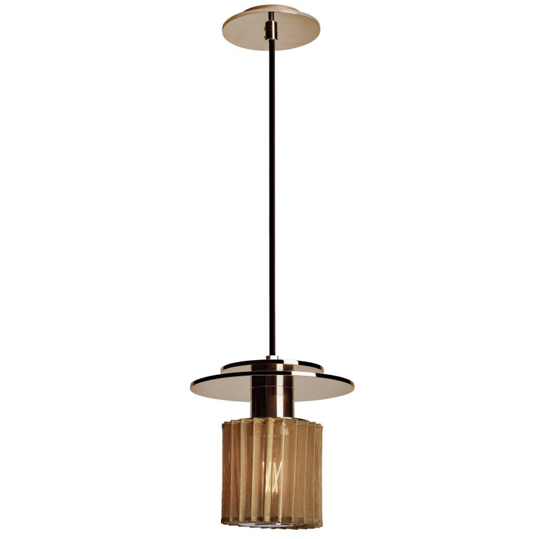 Pendant Lamp in Steel and Glass with Mesh Part, French Contemporary Lighting For Sale