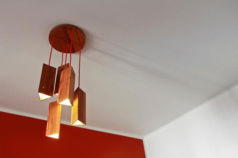 Pendant Lamp in Wood. Brazilian Contemporary Design by O Formigueiro. In New Condition For Sale In Rio de Janeiro, RJ
