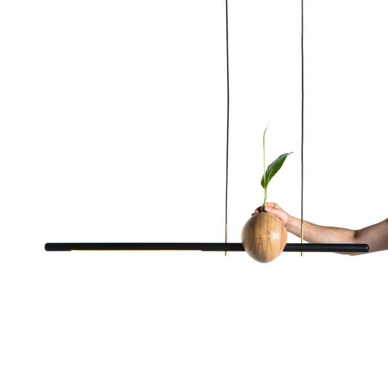 The pendant lamp Ninho is handcrafted in solid Brazilian hardwood Freijó The piece represents the Brazilian contemporary design. - LED 10w - 3.000 K - color temperature. - Inside the turned piece in wood there is a glass cylinder, allowing to