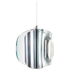 Pendant Lamp or Chandelier from Curved Glass Chrome Style Fontana Arte, Italy