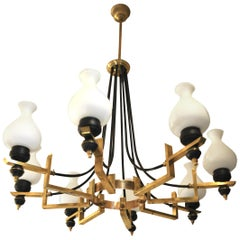Pendant Lamp Stilnovo Designer 1950s in Brass and Opaline