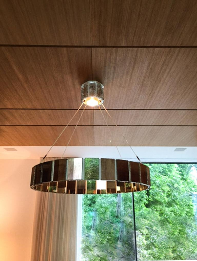 Italian Pendant Lamp Suspension with Silvered Glass Sheets For Sale