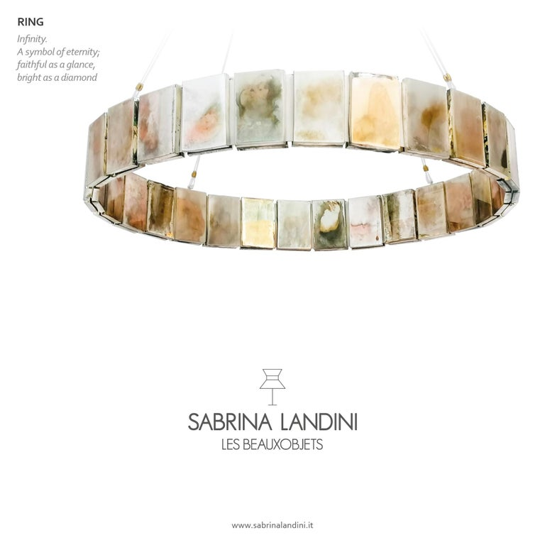 Pendant Lamp Suspension with Silvered Glass Sheets For Sale 6