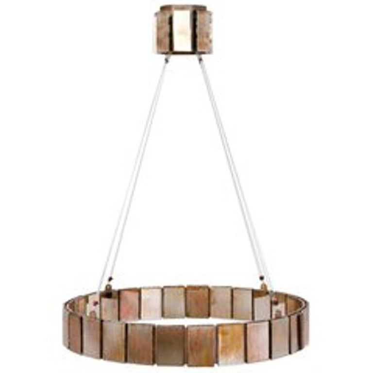 Contemporary Pendant Lamp Suspension with Silvered Glass Sheets For Sale