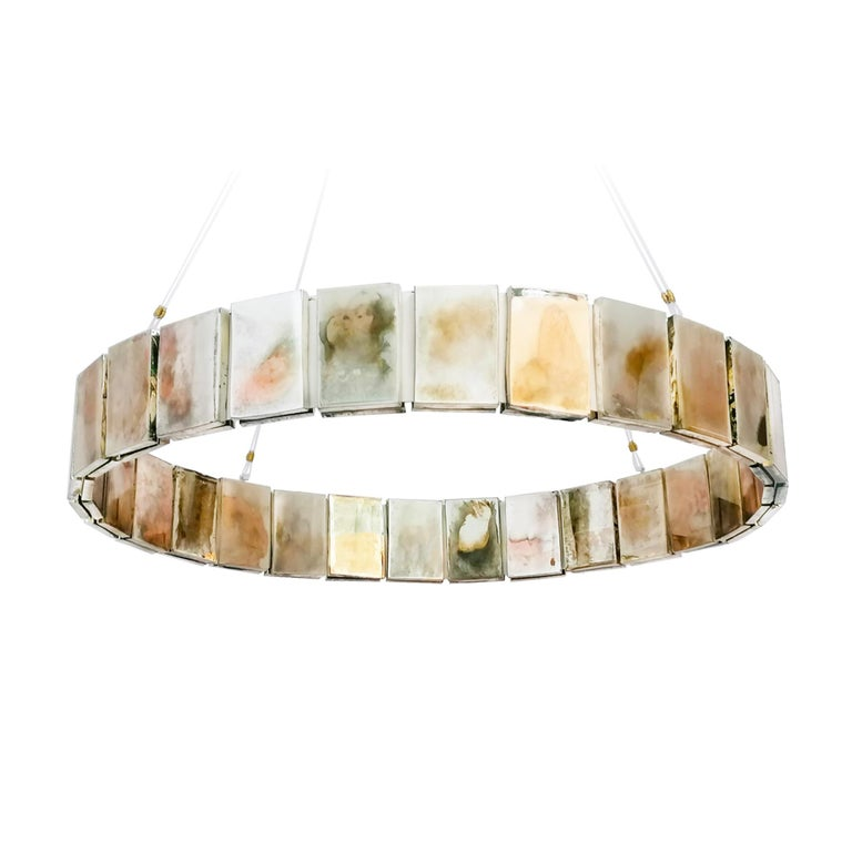Metal Pendant Lamp Suspension with Silvered Glass Sheets For Sale
