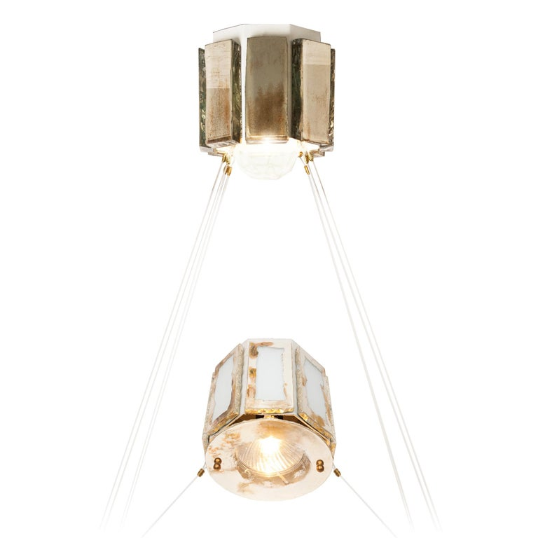 Pendant Lamp Suspension with Silvered Glass Sheets For Sale 1