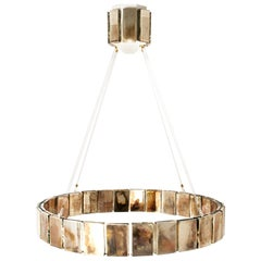 Pendant Lamp Suspension with Silvered Glass Sheets