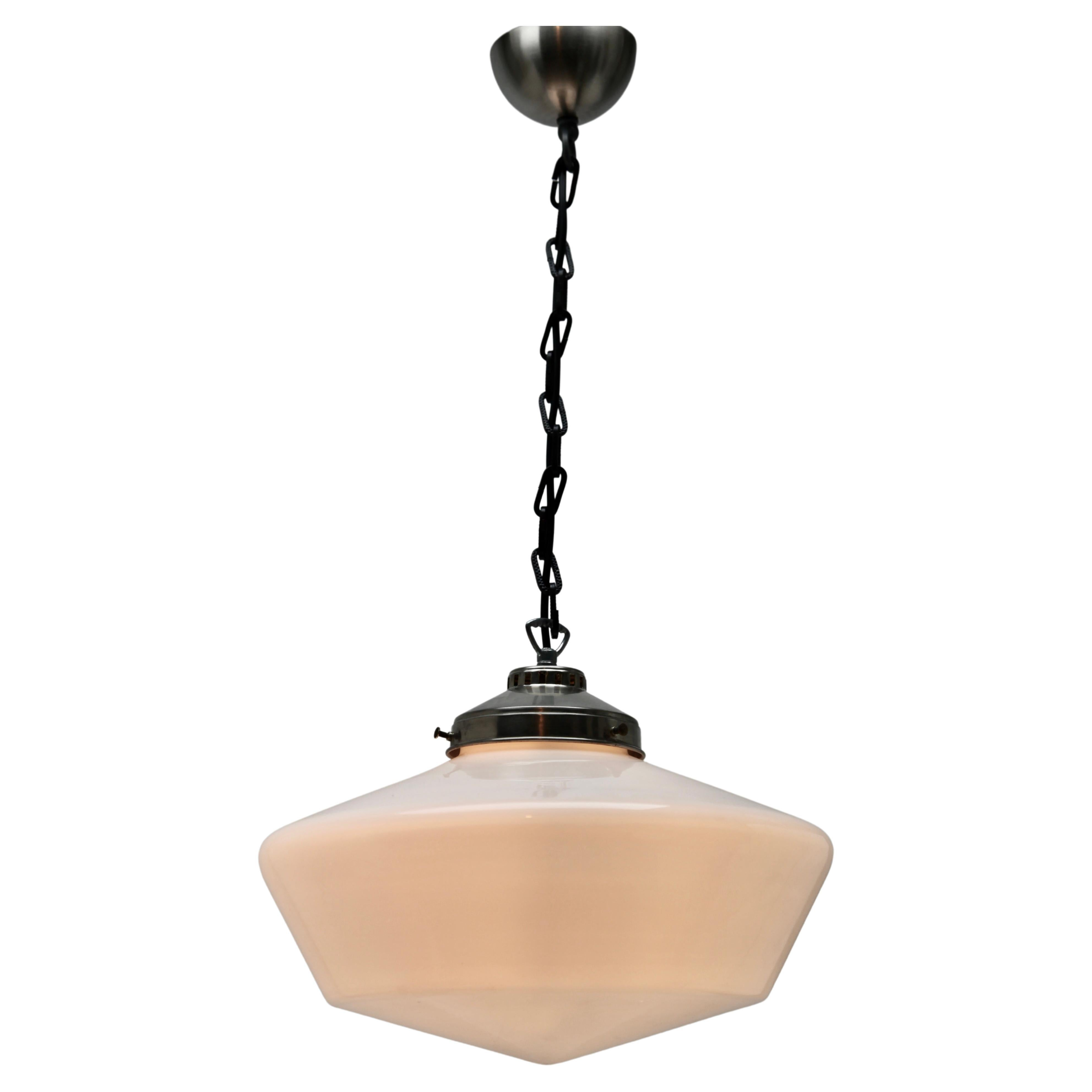 Pendant Lamp with a Opaline Shade, 1930s, Netherlands