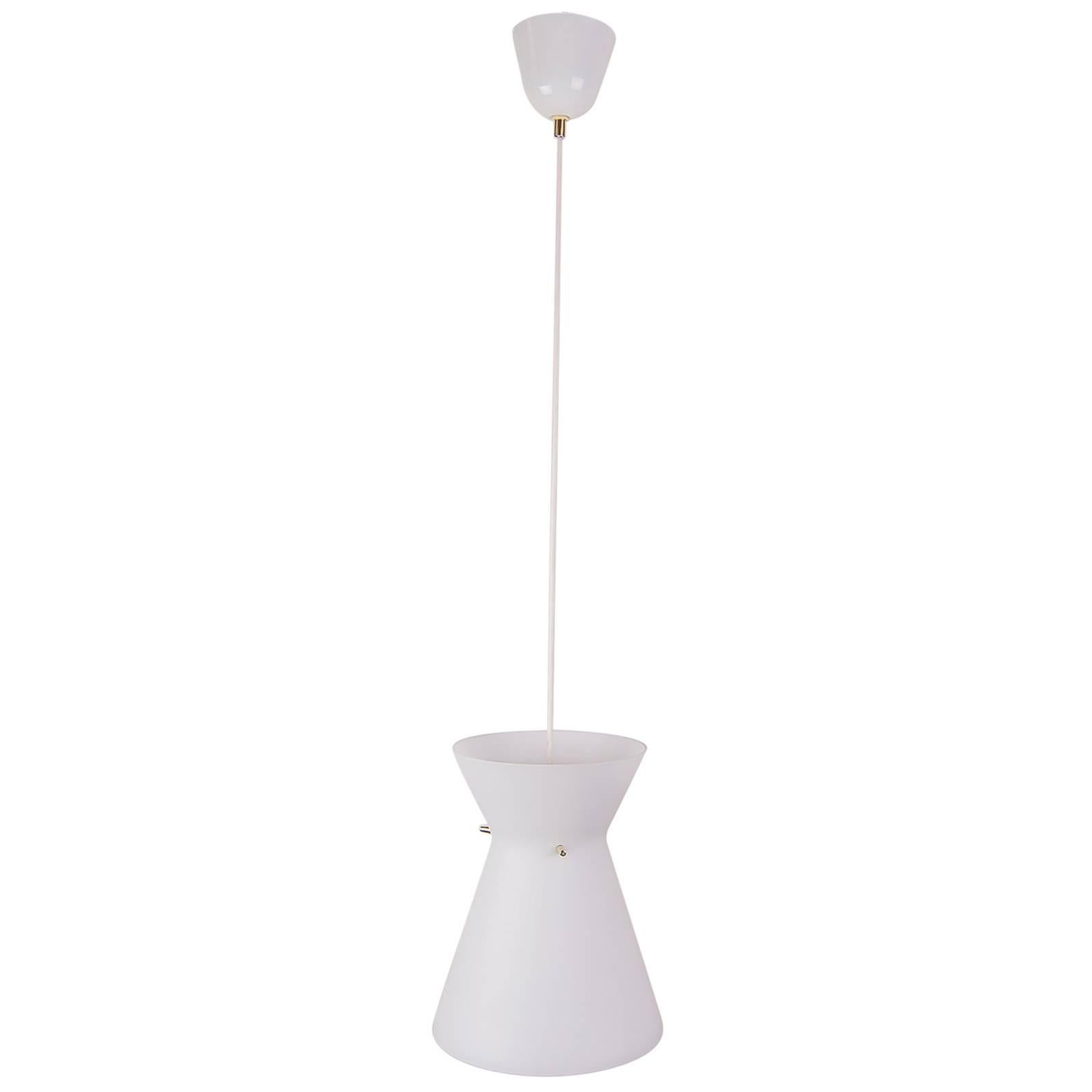 Pendant Lamp with Opal Glass Shade Italian, 1960s
