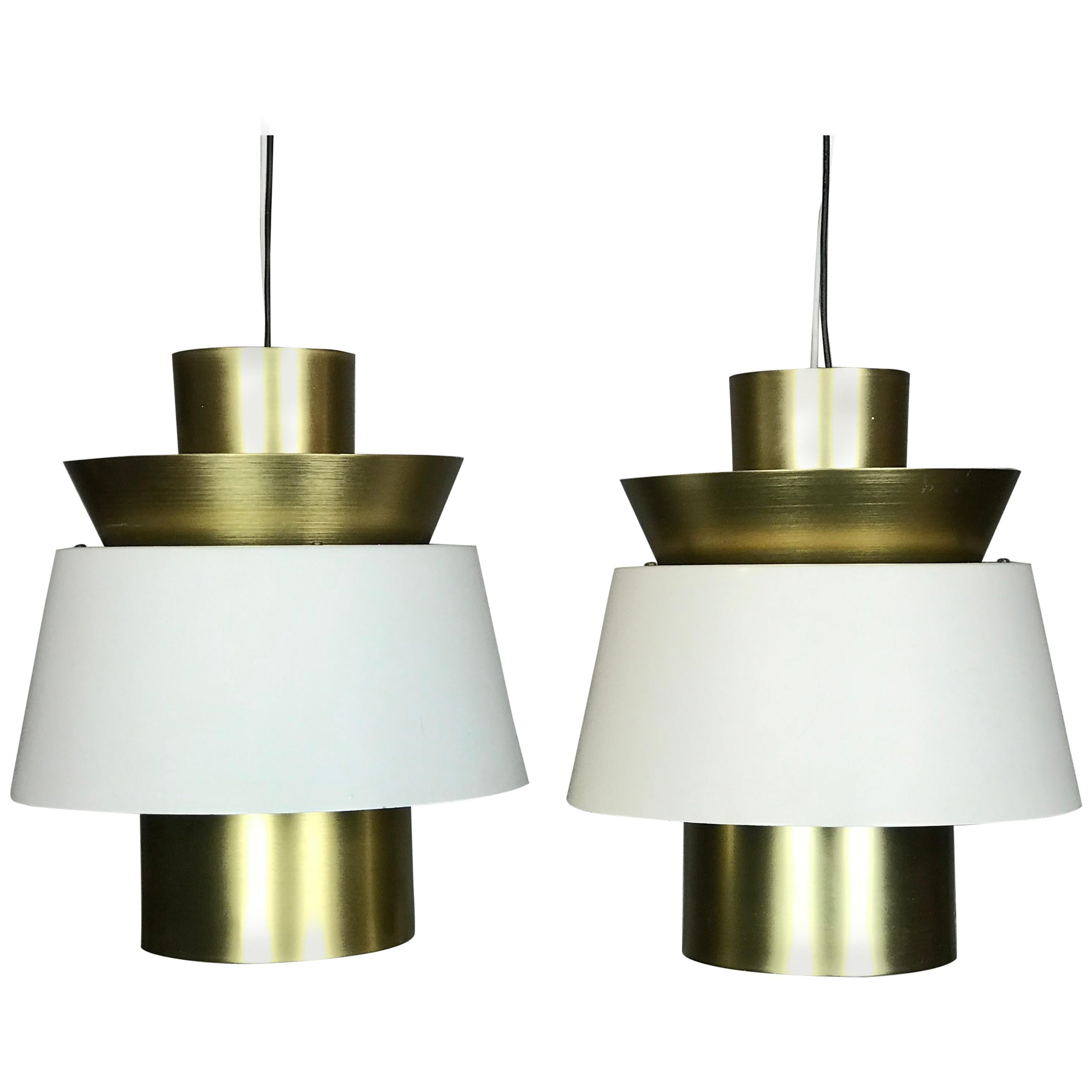 Pendant Lamps in Brass and Painted Metal by Jorn Utzon for Nordisk Solar