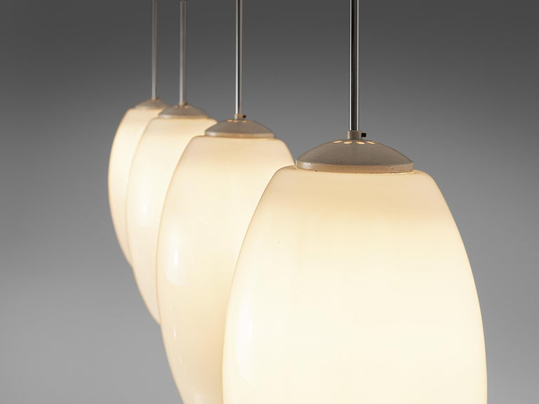 Mid-Century Modern Pendant Lamps in Opaline Glass and Metal For Sale
