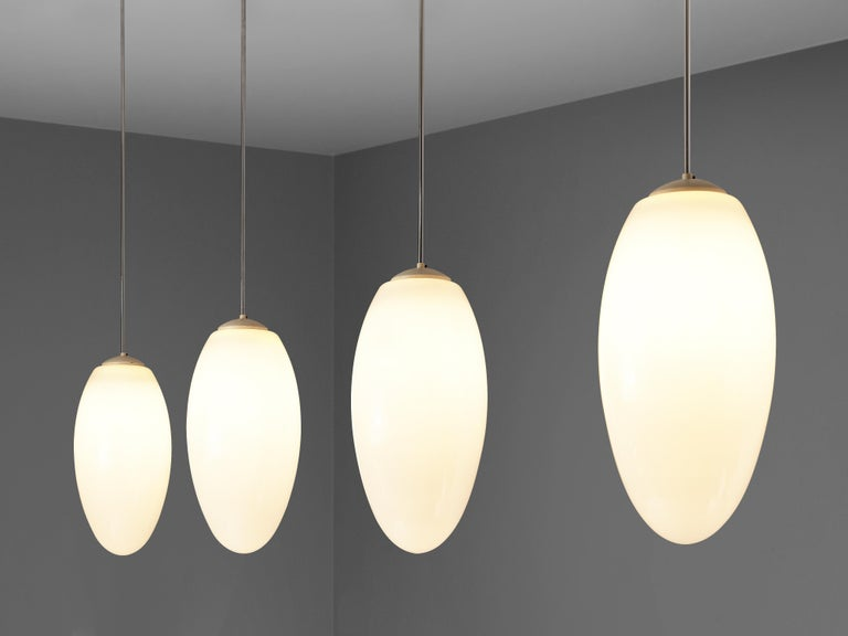 European Pendant Lamps in Opaline Glass and Metal For Sale