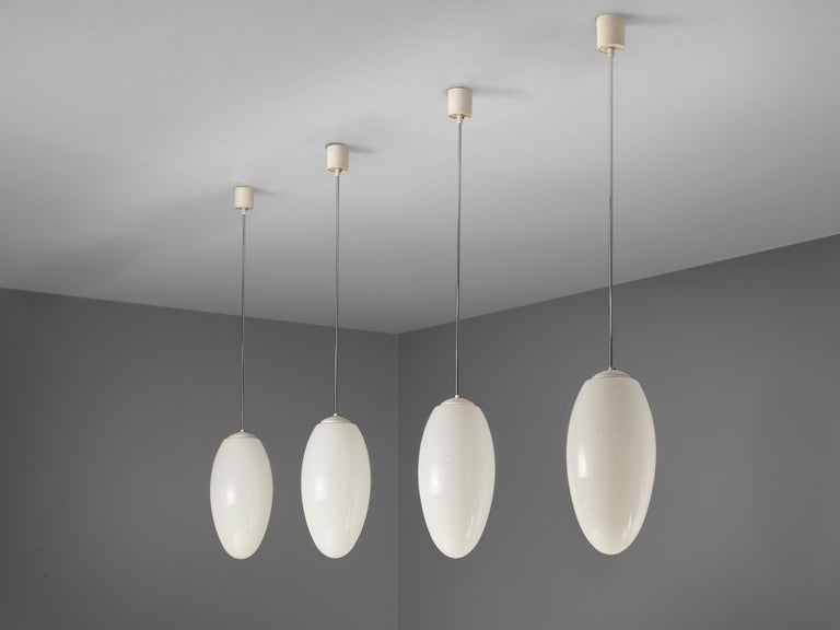Late 20th Century Pendant Lamps in Opaline Glass and Metal For Sale