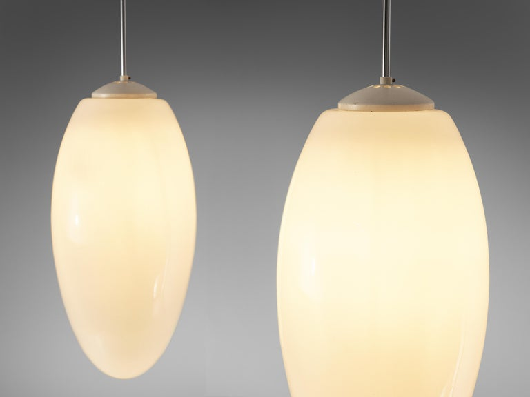 Pendant Lamps in Opaline Glass and Metal For Sale 1