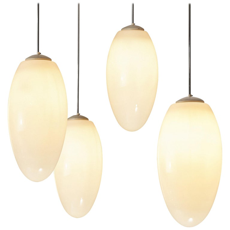Pendant Lamps in Opaline Glass and Metal For Sale