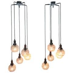 Pendant Light 5-Lights, Midcentury, 2 Pieces