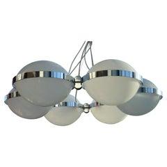 Pendant Light 6 Globes Chromed Metal and Plexiglass, 1970