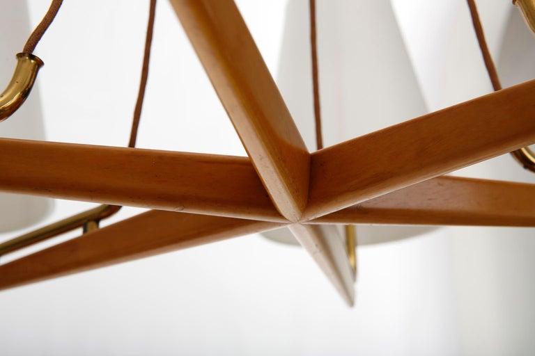 Pendant Light Chandelier 'Holzstern' by J.T. Kalmar, Brass Walnut Wood, 1960s For Sale 4