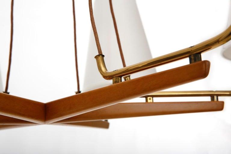 Pendant Light Chandelier 'Holzstern' by J.T. Kalmar, Brass Walnut Wood, 1960s For Sale 5