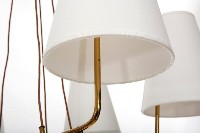 Pendant Light Chandelier 'Holzstern' by J.T. Kalmar, Brass Walnut Wood, 1960s For Sale 6