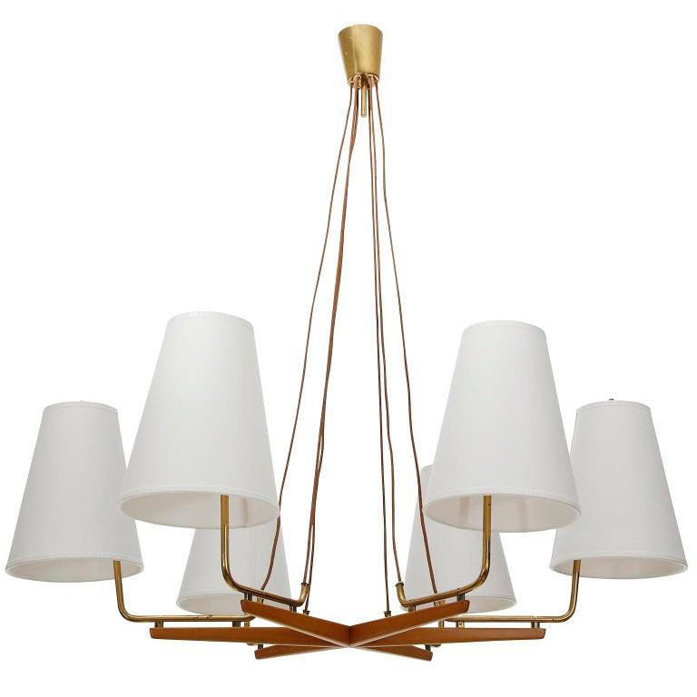 Mid-Century Modern Pendant Light Chandelier 'Holzstern' by J.T. Kalmar, Brass Walnut Wood, 1960s For Sale