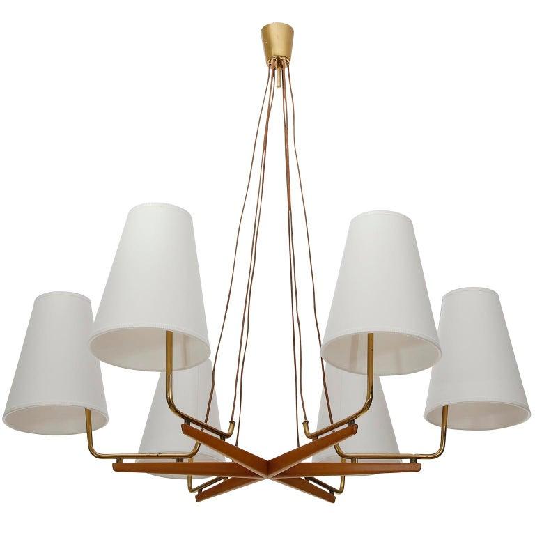 Austrian Pendant Light Chandelier 'Holzstern' by J.T. Kalmar, Brass Walnut Wood, 1960s For Sale