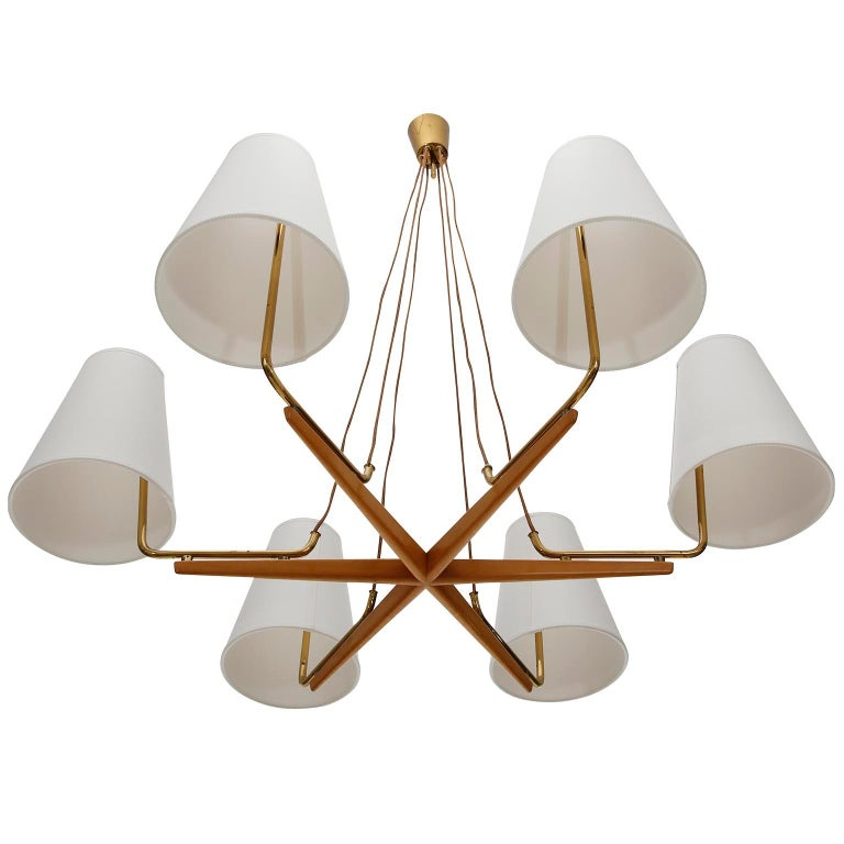 Pendant Light Chandelier 'Holzstern' by J.T. Kalmar, Brass Walnut Wood, 1960s In Good Condition For Sale In Vienna, AT